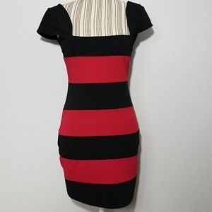 Guess Medium Black Red Stripe Stretch Dress